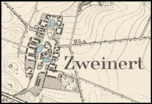 Świniary na przedwojenny planie. Przed rokiem 1945 miejscowość nosiła nazwę Zweinert