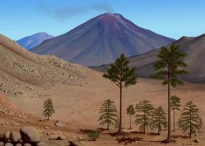 """Pustynia i wulkany. Tak przed milionami lat mogły wyglądać nasze najbliższe okolice. Rysunek: Edyta Felcyn. Źródło: """"Żywa Planeta"""""""